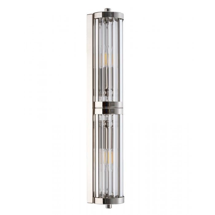 Bespoke lighting design LORETTO 2 light glass wall light in nickel