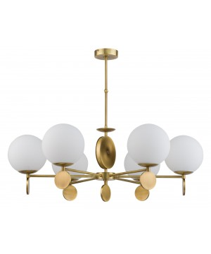 Bespoke lighting DIMARO 6 light chandelier with globes in old gold