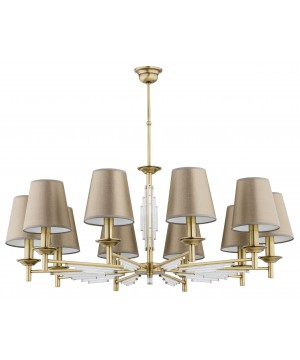 Bespoke lighting FELLINO crystal ceiling 10 lights in brushed brass