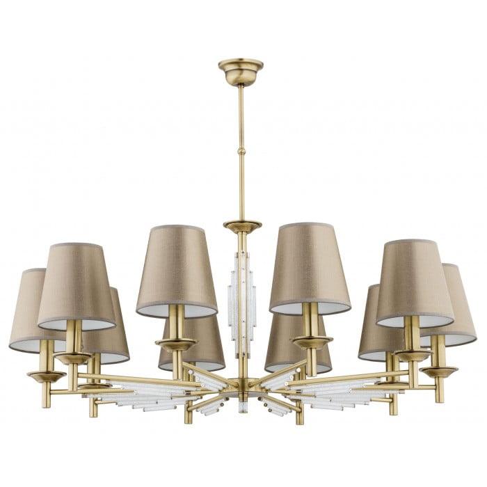 Bespoke lighting FELLINO crystal ceiling 10 lights in brushed brass