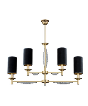 Bespoke lighting FELLINO ceiling 4 lights black shade in brushed brass