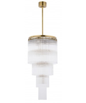 Bespoke lighting FILAGO clear glass pendant light in brushed brass