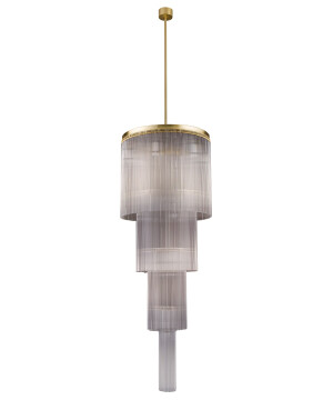 Bespoke lighting filago stairwell lighting glass pendant in brushed brass