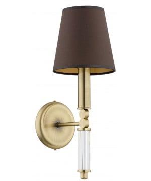 bespoke lighting TAMARA brass bathroom wall lights with brown lamp shade
