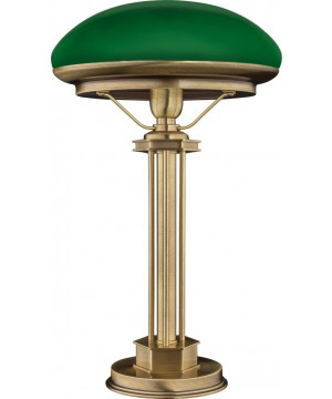 bespoke lighting DECOR green bankers lamp in brushed brass