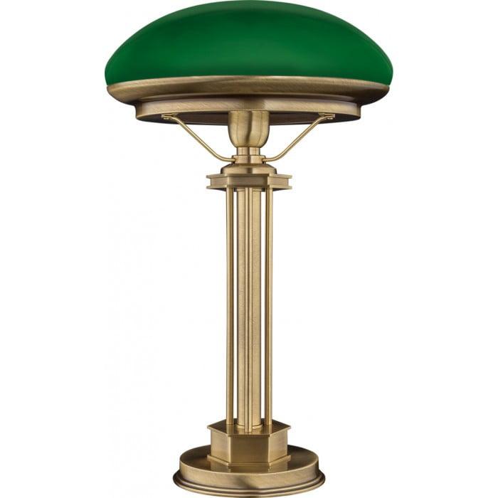 bespoke lighting DECOR green bankers lamp in brushed brass