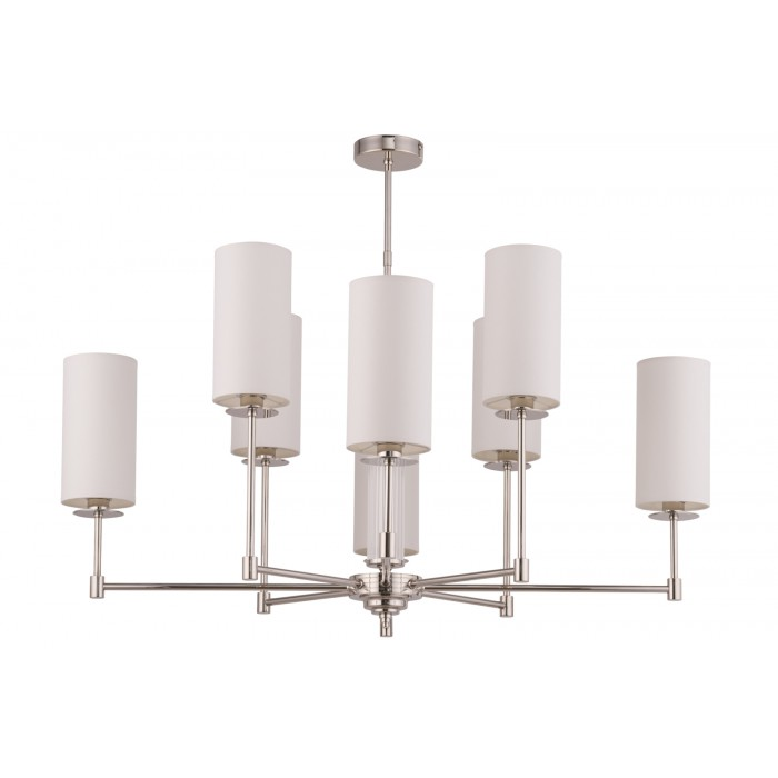 Lighting room EMPOLI silver ceiling 8 lights with white shades