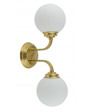 lighting room ABANO twin wall lights in gold with glass shades