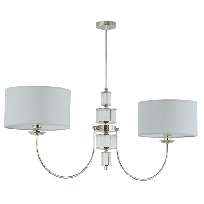 lighting room CERO 2 arm chandelier in nickel with fabric shades