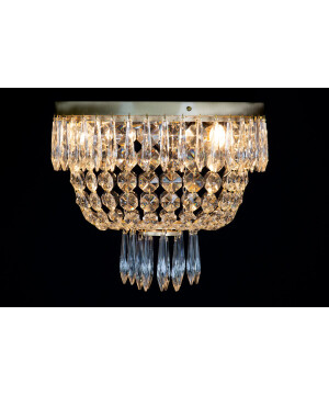 crystal palace LEONARD flush crystal ceiling light in brushed brass
