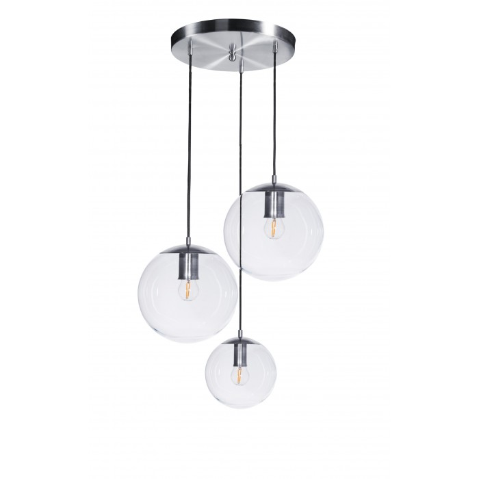 glass house bacan 3 cluster pendant light in stainless steel