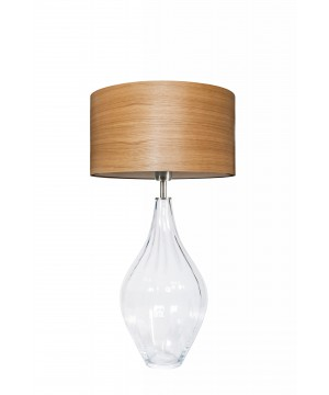 glass house BORNEO clear glass table lamp with wood veneer shade