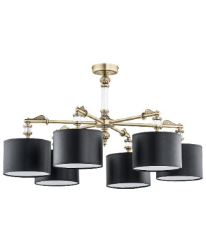 low ceiling chandelier merano 6 light brass with fabric shades