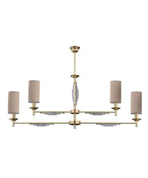 bespoke lighting fellino ceiling 4 lights fabric shade in brushed brass