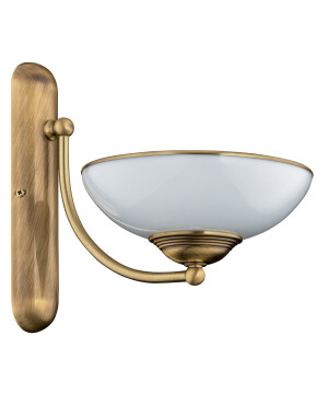 traditional wall light helen in brushed brass with glass shades