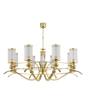 classic 8 lights chandelier ruta in gold with glass shades