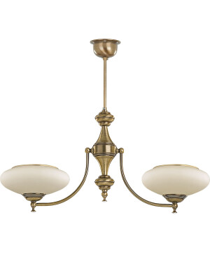 classic san marino 2 arms chandelier in brushed brass with glass shade