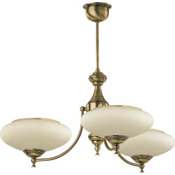 classic san marino 3 arms chandelier in brushed brass with glass shade