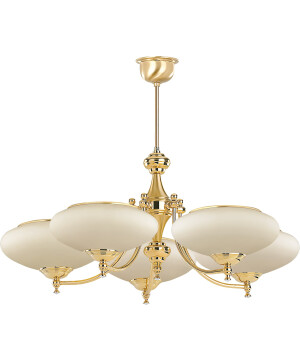 classic san marino 5 arms chandelier in gold with glass shade