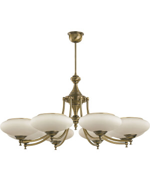 classic san marino 8 arms chandelier in brushed brass glass shades