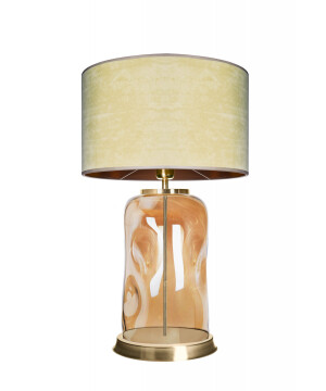 glass house ruu amber glass bedside table lamp with shade