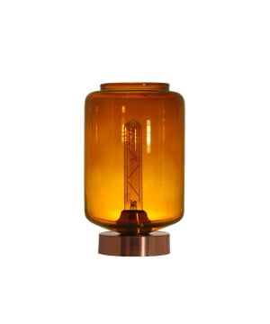 glass house leyte amber glass table lamp copper
