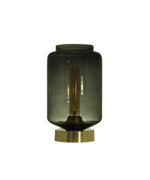 glass house leyte ash glass table lamp brass
