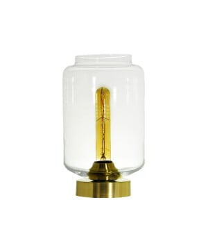 glass house leyte clear glass table lamp brass