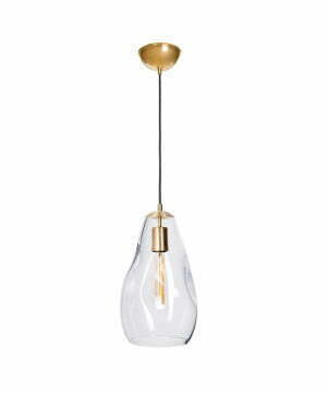 single pendant light STORM S clear glass in gold