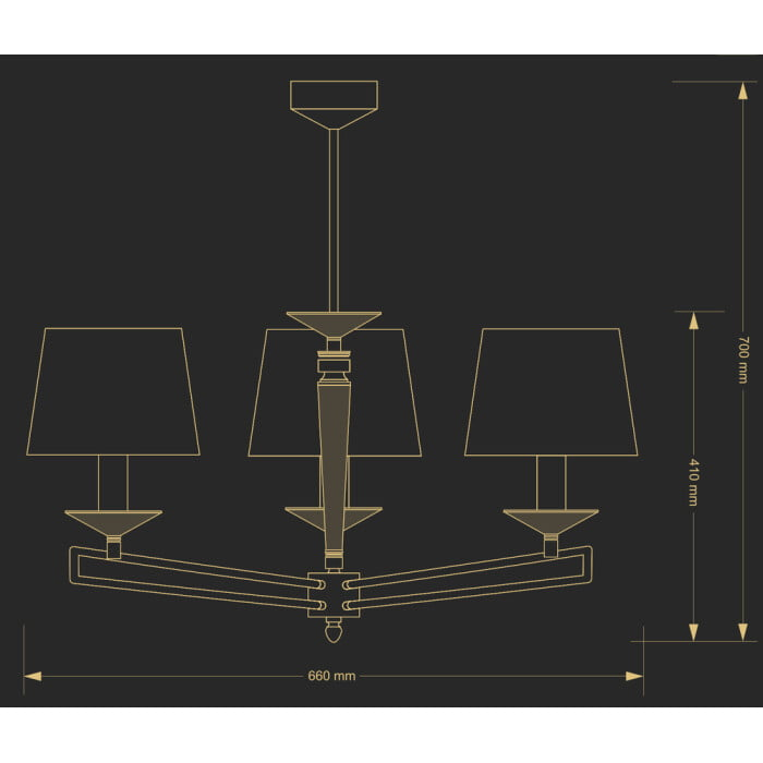 bespoke lighting zola 3 arms chandelier with fabric shades